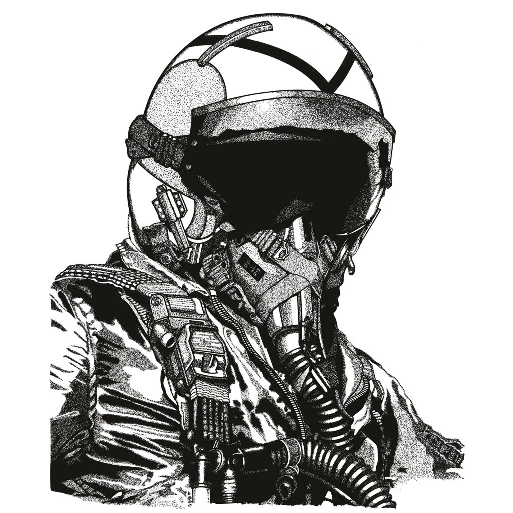 Fighter Pilot - pen and ink